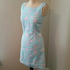 Lilly Pulitzer Blue & Yellow Seashell Print Dress